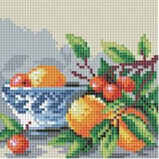 Алмазная мозаика «Абрикосы и вишня » 15*15 см
