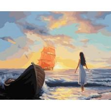 Картина-раскраска по номерам «Алые паруса» 40*50 см