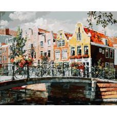 Картина-раскраска по номерам «Амстердам. Мост через канал» 40*50 см