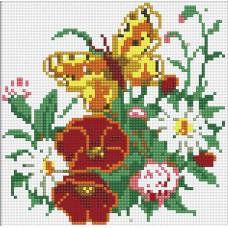 Алмазная мозаика «Бабочка на лугу» 20*20 см