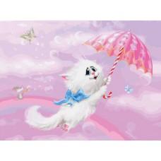 Картина-раскраска по номерам «Белая кошечка» 30*40 см