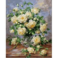 Картина-раскраска по номерам «Белые розы» 40*50 см