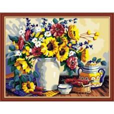Картина-раскраска по номерам «Букет из полевых цветов» 50*65 см