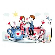 Картина-раскраска по номерам «Чаепитие» 30*40 см