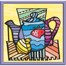 Картина-раскраска по номерам «Чайник» 30*30 см