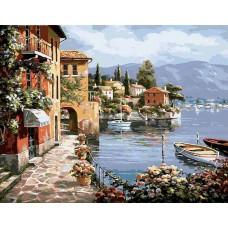 Картина-раскраска по номерам «Средиземноморская гавань» 40*50 см