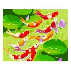 Картина-раскраска по номерам «Девять карпов Кои» 40*50 см