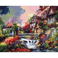 Картина-раскраска по номерам «Дом с водопадом» 40*50 см