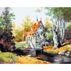Картина-раскраска по номерам «Домик в лесу» 40*50 см