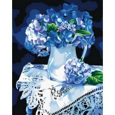 Картина-раскраска по номерам «Голубая гортензия» 40*50 см