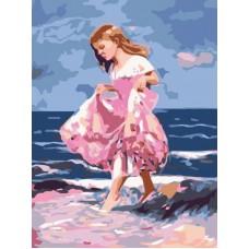 Картина-раскраска по номерам «Идущая по волнам» 30*40 см