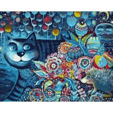 Картина-раскраска по номерам «Индиго кот» 40*50 см