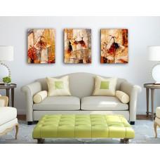 Картина-раскраска по номерам триптих «Изящные балерины» 50*120 см