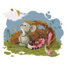 Картина-раскраска по номерам «Компания под листом» 30*40 см