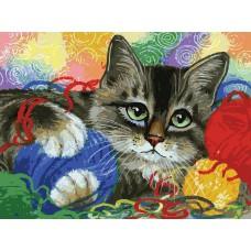 Картина-раскраска по номерам «Котик с клубочками» 30*40 см