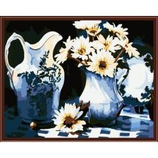 Картина-раскраска по номерам «Кувшин и ромашки» 40*50 см