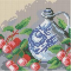 Алмазная мозаика «Кувшин и вишня » 15*15 см