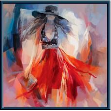 Картина-раскраска по номерам «Lady in red» 40*40 см