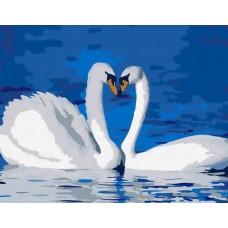 Картина-раскраска по номерам «Лебединая верность» 40*50 см