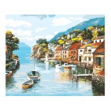Картина-раскраска по номерам «Лодочка на реке» 40*50 см