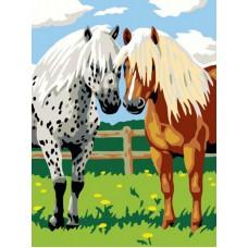 Картина-раскраска по номерам «Лошадки» 30*40 см