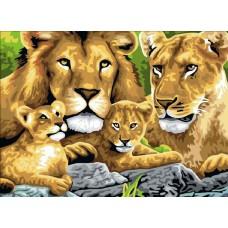 Картина-раскраска по номерам «Львы на отдыхе» 40*50 см