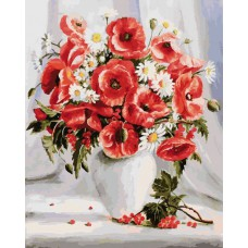 Картина-раскраска по номерам «Маки и ромашки» 40*50 см