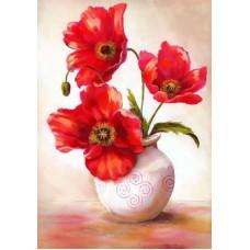 Картина-раскраска по номерам «Маки в вазе» 40*50 см