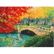 Картина-раскраска по номерам «Мостик в парке» 40*50 см