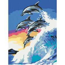 Картина-раскраска по номерам «На гребне волны» 30*40 см