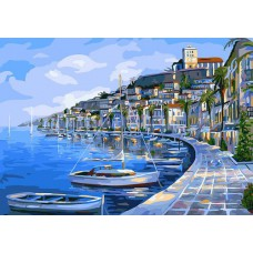 Картина-раскраска по номерам «Набережная Ибица» 40*50 см
