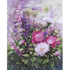Картина-раскраска по номерам «Пионы и люпины» 40*50 см