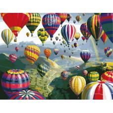 Картина-раскраска по номерам «Полет на воздушном шаре» 40*50 см