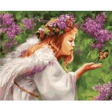Картина-раскраска по номерам «Поцелуй бабочки» 40*50 см