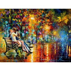 Картина-раскраска по номерам «Поцелуй на лавочке» 40*50 см