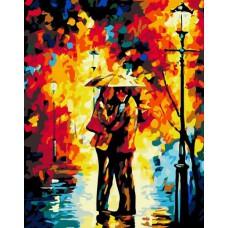 Картина-раскраска по номерам «Поцелуй под дождем» 40*50 см