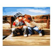 Картина-раскраска по номерам «Поцелуй у реки» 40*50 см