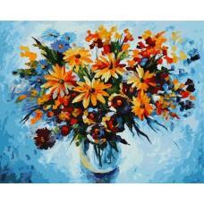 Картина-раскраска по номерам «Разноцветные ромашки» 30*40 см или 40*50 см