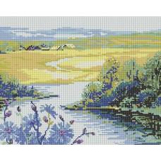Алмазная мозаика «Река и поле » 31*38 см