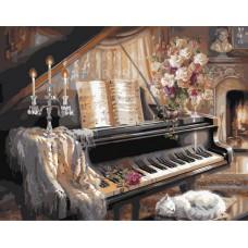 Картина-раскраска по номерам «Рояль, свечи, букет» 40*50 см