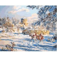 Картина-раскраска по номерам «Русская тройка. Река Пскова» 40*50 см