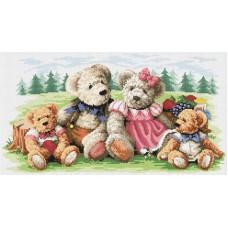 Алмазная мозаика «Семейка медвежат » 34*63 см