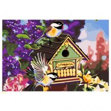 Картина-раскраска по номерам «Синички у домика с сиренью» 40*50 см