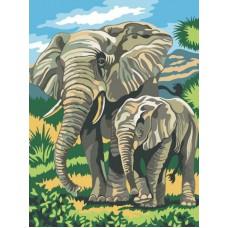 Картина-раскраска по номерам «Слоны» 30*40 см