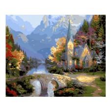 Картина-раскраска по номерам «Средневековая церковь» 40*50 см