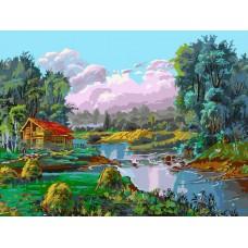Картина-раскраска по номерам «Стога у реки» 30*40 см
