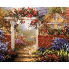 Картина-раскраска по номерам «Цветущая усадьба» 40*50 см