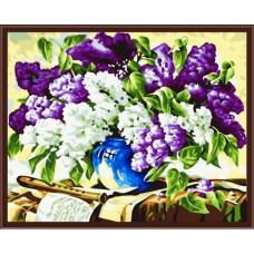 Картина-раскраска по номерам «Цветущая сирень» 40*50 см