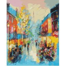 Картина-раскраска по номерам «Улочки Парижа» 40*50 см