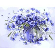 Картина-раскраска по номерам «Василёчки-васильки» 30*40 см